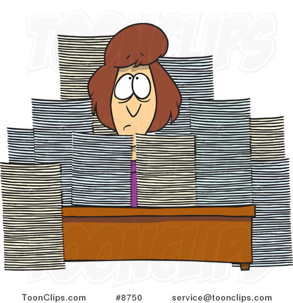 Cartoon Business Woman Sitting at Her Desk with Stacks of Paperwork