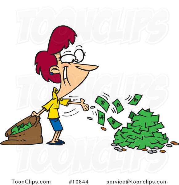 Cartoon Business Woman Spending Cash