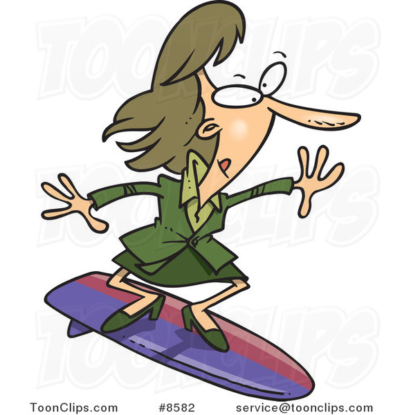 Cartoon Business Woman Surfing