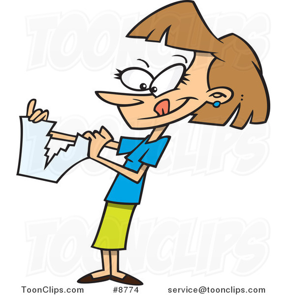 Cartoon Business Woman Tearing Up Paperwork 8774 By Ron