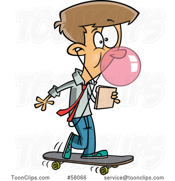 Cartoon Businessman Office Intern on a Skateboard