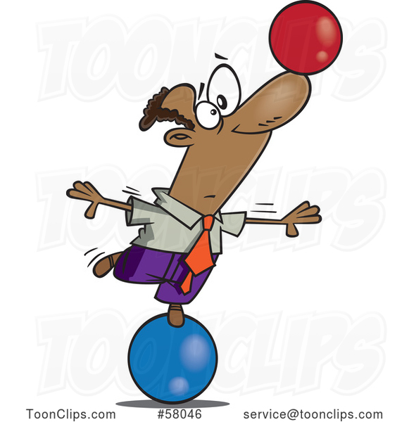 Cartoon Businessman on a Ball, Balancing Another on His Nose