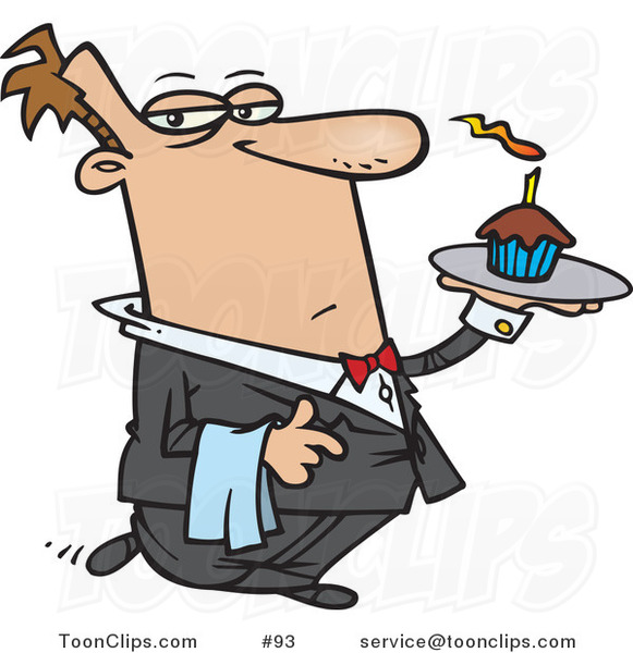 Cartoon Butler Carrying A Cupcake With A Lit Candle On A