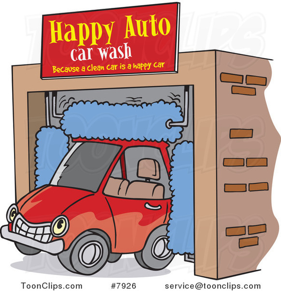 Cartoon Car Driving Through an Auto Wash