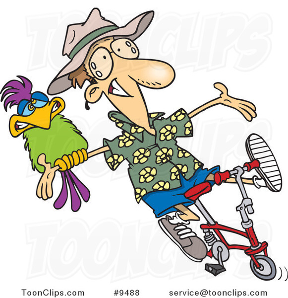 Cartoon Carefree Guy on a Bike with a Parrot