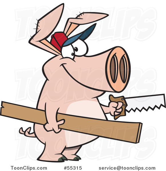 Cartoon Carpenter Pig Holding Lumber and a Saw