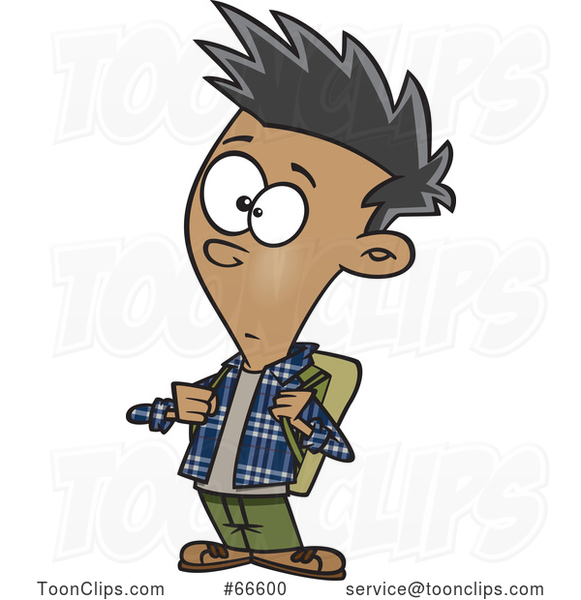 Cartoon Casual Teenage Boy Wearing a Backpack