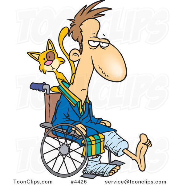 Cartoon Cat Behind a Guy with Broken Limbs in a Wheelchair