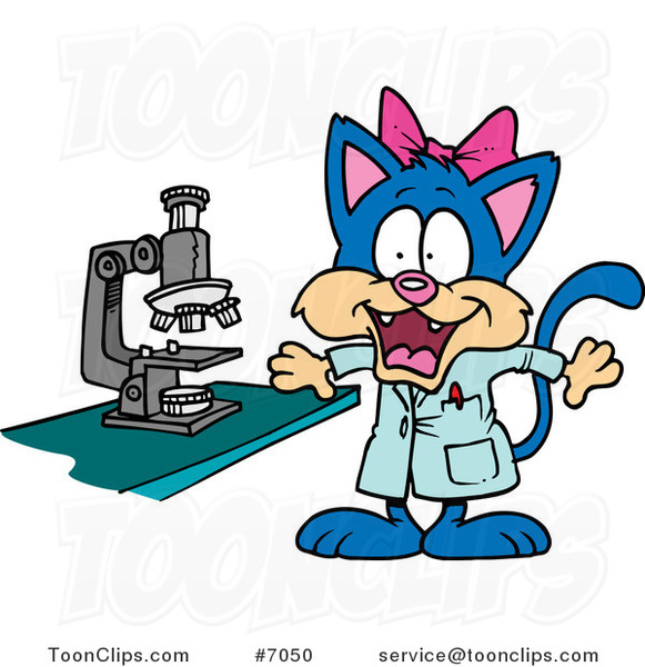 Cartoon Cat Scientist