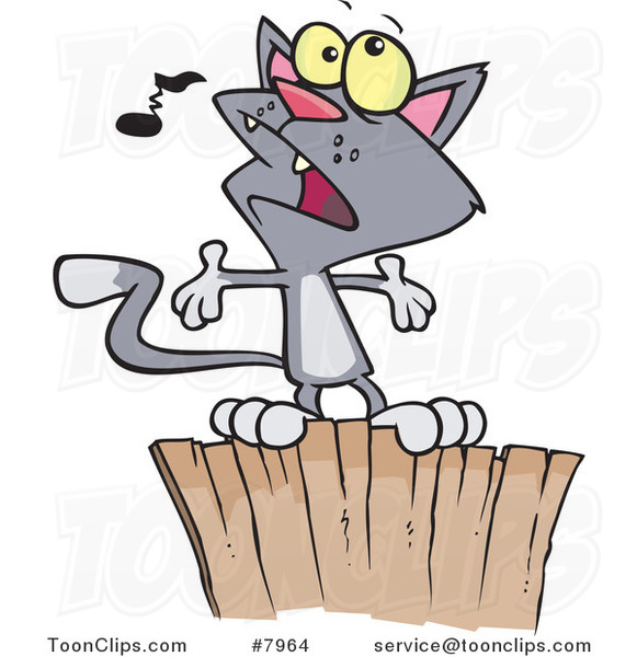 Cartoon Cat Singing on a Fence