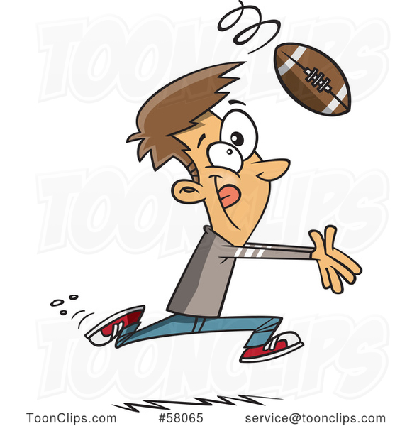 Cartoon Catching a Football