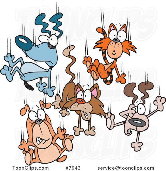 Cartoon Cats and Dogs Raining down