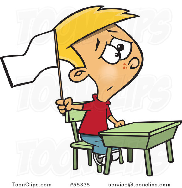 Cartoon Cauacsian School Boy Waving a White Flag at His Desk