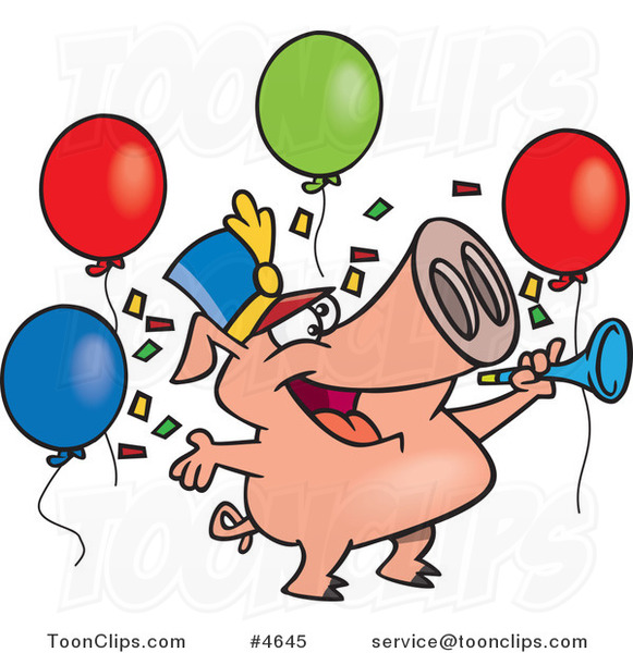 Cartoon Celebrating New Year Pig