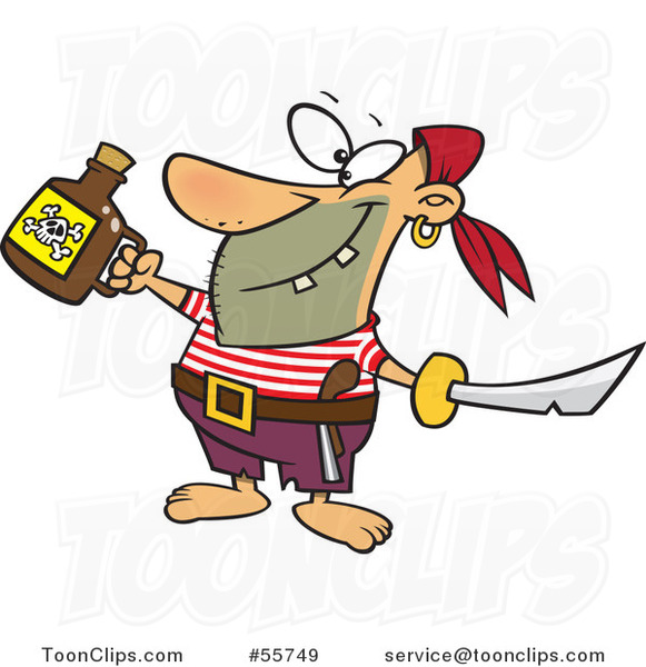 Cartoon Celebrating Pirate with Poison and a Sword