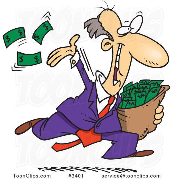 Cartoon Charitable Rich Business Man Throwing Money