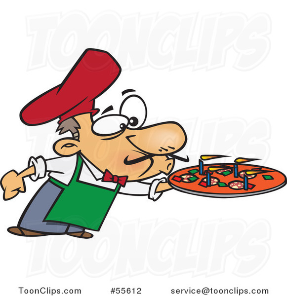 Cartoon Chef Blowing out the Candles on a Pizza Pie