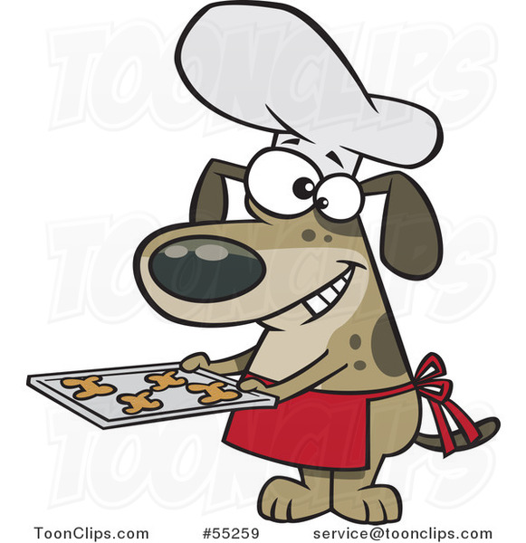 Cartoon Chef Dog Holding Fresh Baked Biscuits on a Tray