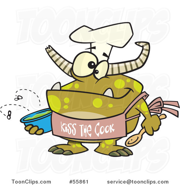 Cartoon Chef Monster Wearing a Kiss the Cook Apron