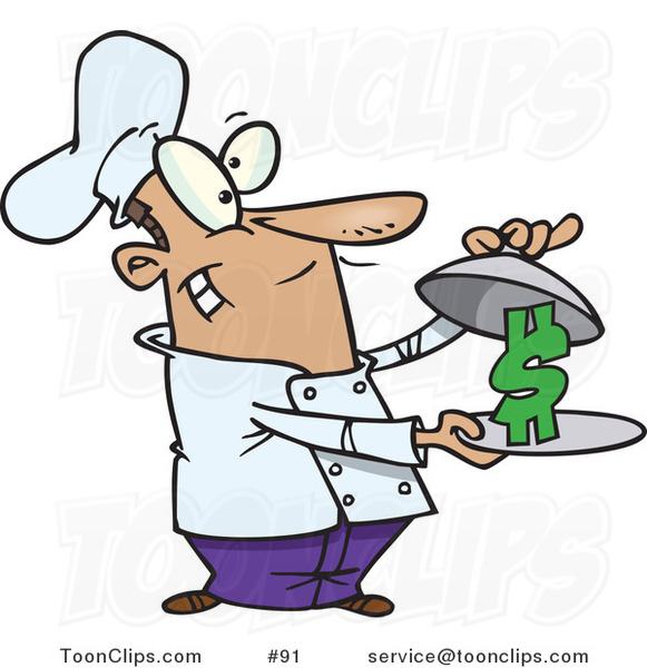 Cartoon Chef Serving a Dollar Sign on a Platter