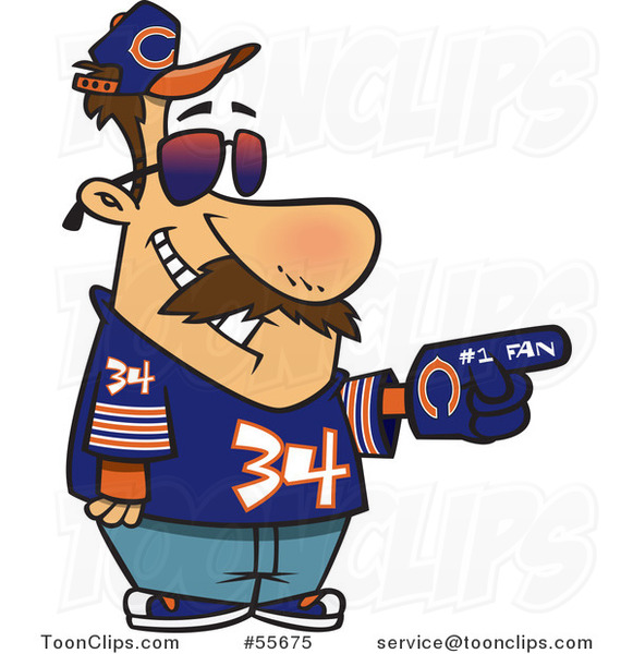 Cartoon Chicago Bears Football Fan Guy All Decked out