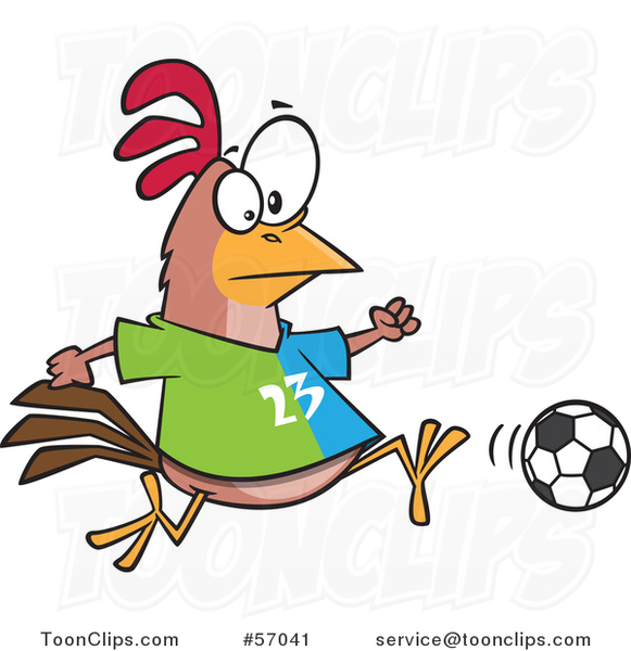 Cartoon Chicken Playing Soccer