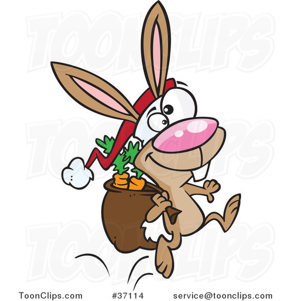 Cartoon Christmas Bunny Hopping with Carrots in His Sack