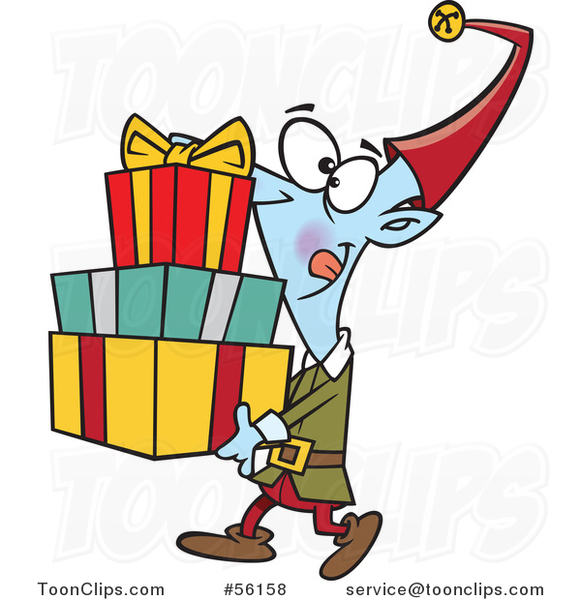 Cartoon Christmas Elf Carrying a Stack of Presents