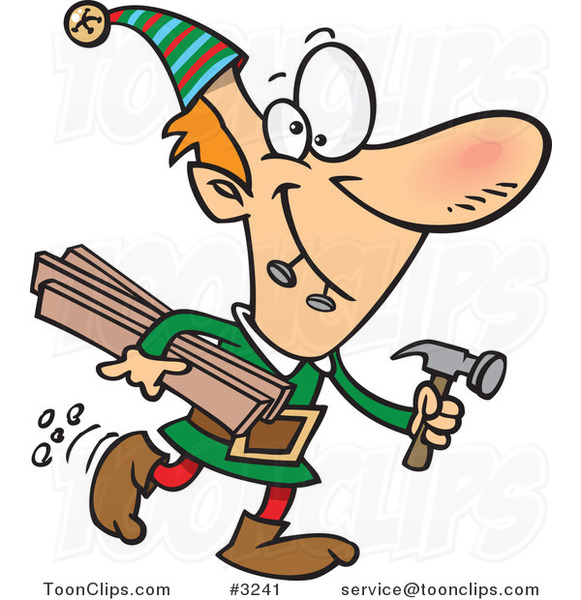 A combien nous arrêterons-nous ? - Page 13 Cartoon-christmas-elf-carrying-lumber-and-a-hammer-by-ron-leishman-3241