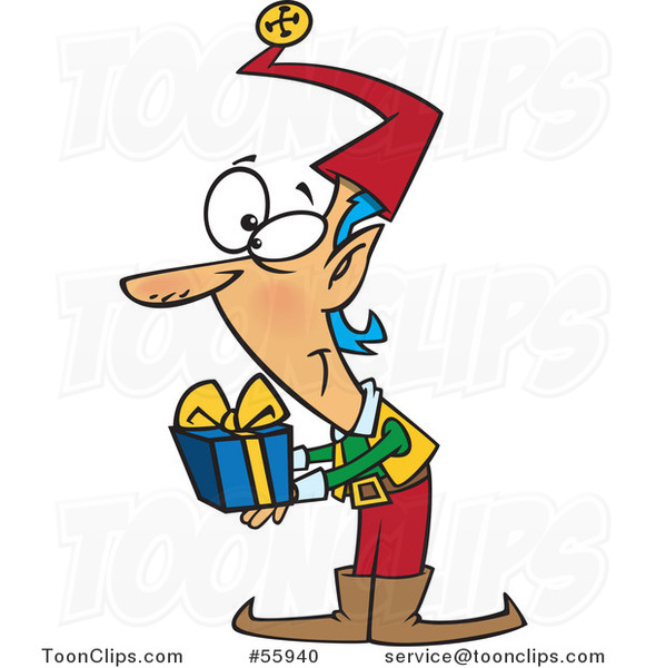 Cartoon Christmas Elf Holding out a Gift