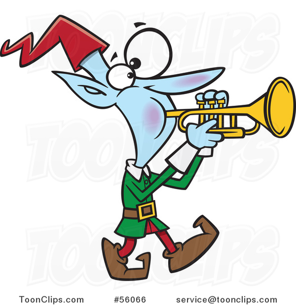 Cartoon Christmas Elf Marching and Playing the Trumpet