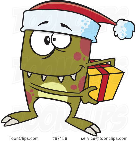 Cartoon Christmas Elf Monster Holding a Gift