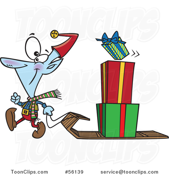 Cartoon Christmas Elf Pulling a Stack of Presents on a Sled