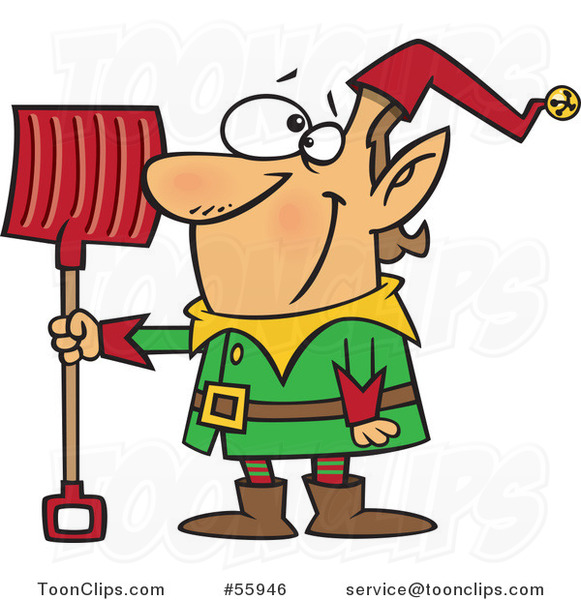 Cartoon Christmas Elf with a Snow Shovel