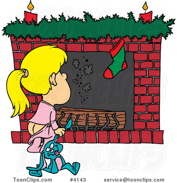 Cartoon Christmas Girl Waiting for Santa at the Fire Place