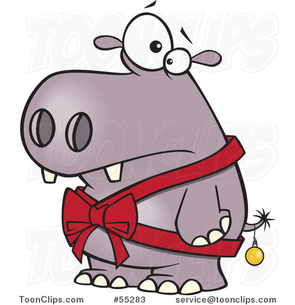 Cartoon Christmas Hippo in a Bow and a Bauble #55283 by Ron Leishman