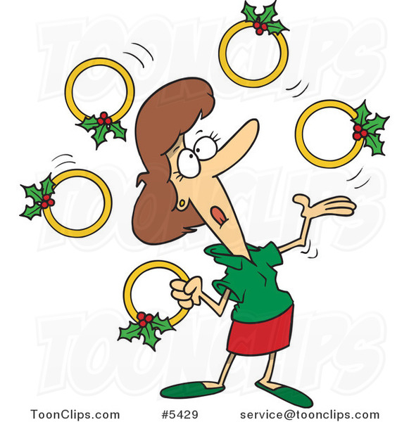 Cartoon Christmas Lady Juggling Five Golden Rings