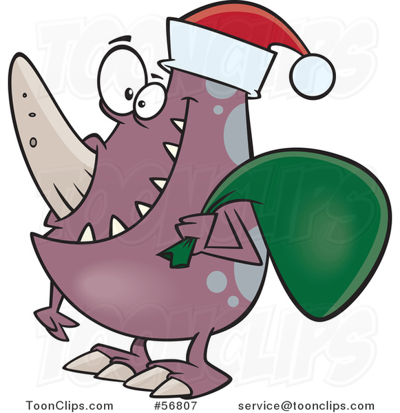 Cartoon Christmas Monster Wearing a Santa Hat and Carrying a Sack