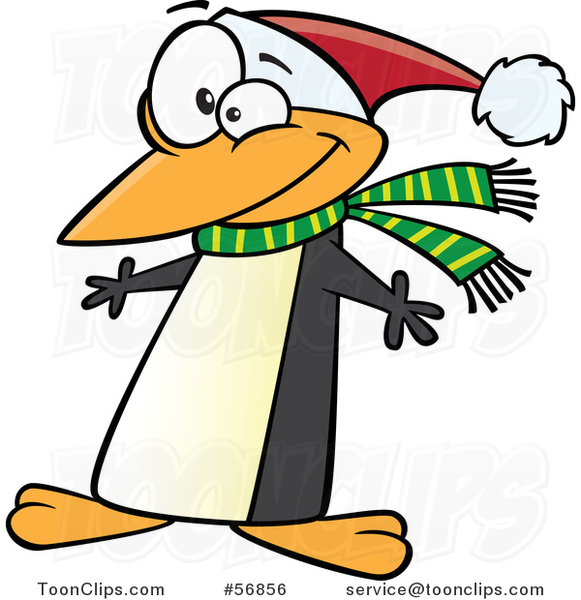 Cartoon Christmas Penguin Wearing a Scarf and Santa Hat