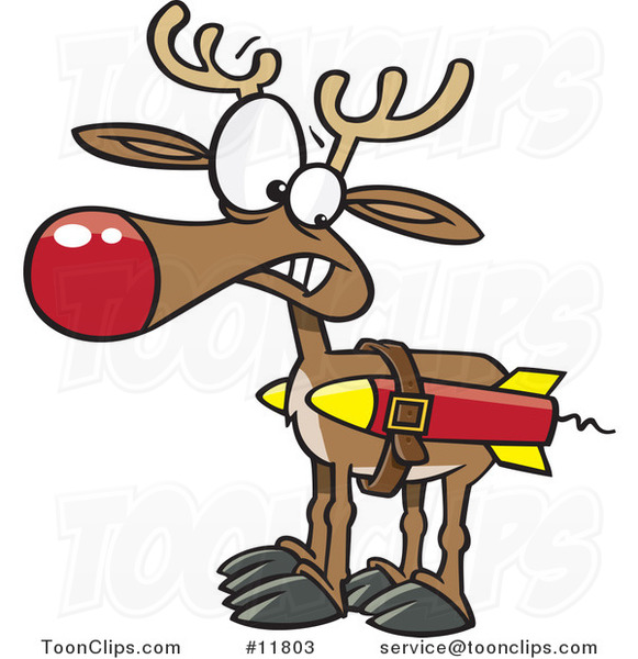 Cartoon Christmas Reindeer with Strapped Rockets