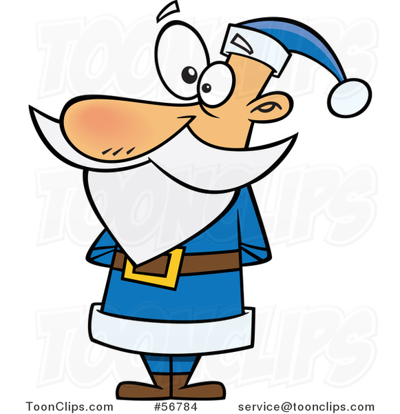 Cartoon Christmas Santa Claus Standing in a Blue Suit