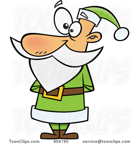 Cartoon Christmas Santa Claus Standing in a Green Suit