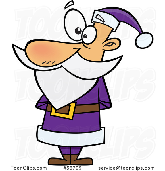 Cartoon Christmas Santa Claus Standing in a Purple Suit