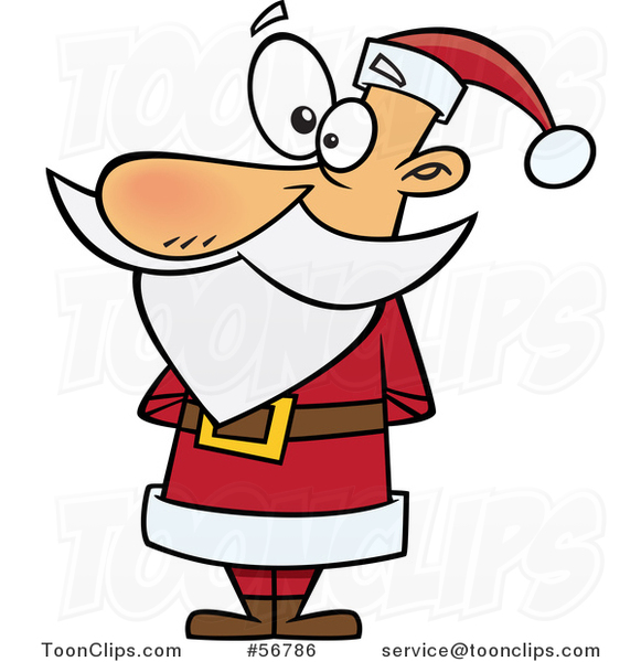 Cartoon Christmas Santa Claus Standing in a Red Suit