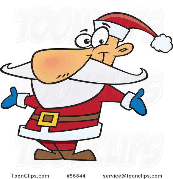 Cartoon Christmas Santa Claus Welcoming with Open Arms