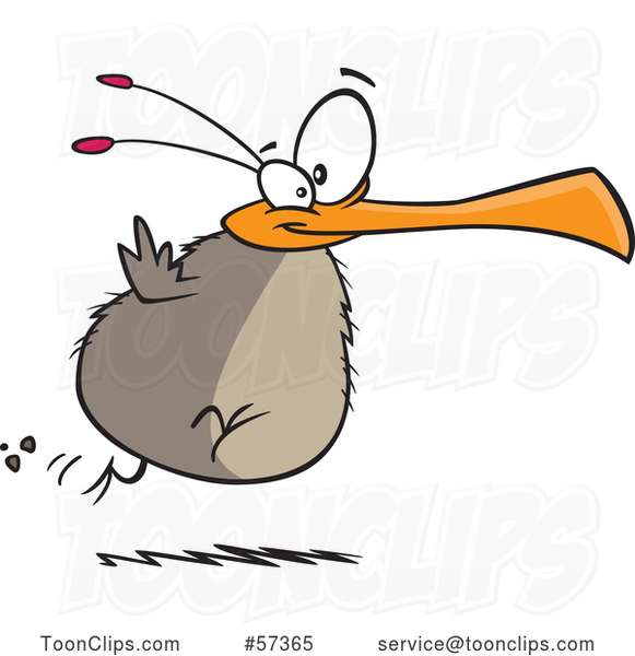 Cartoon Chubby Flightless Bird Running