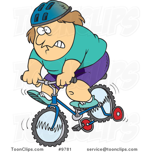 Cartoon Chubby Guy Riding a Bike with Training Wheels