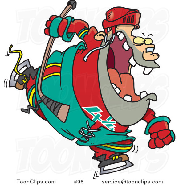 Cartoon Chubby Hockey Player Guy in Uniform