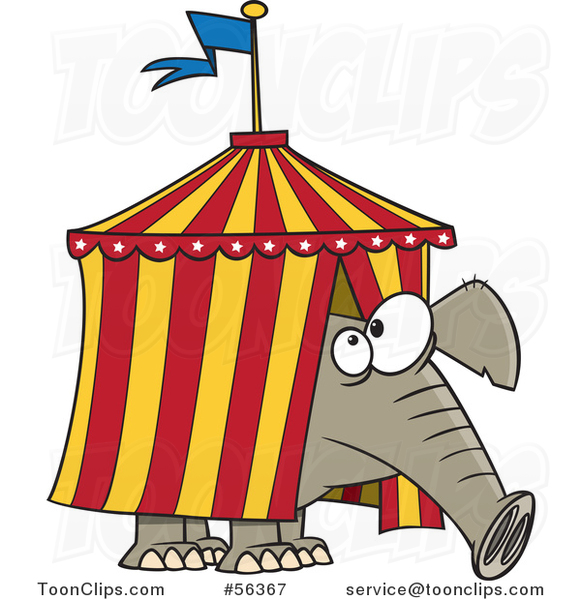 Cartoon Circus Elephant Stuck in a Big Top Tent