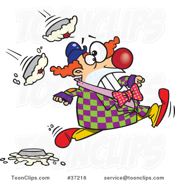 Cartoon Clown Running from Pies